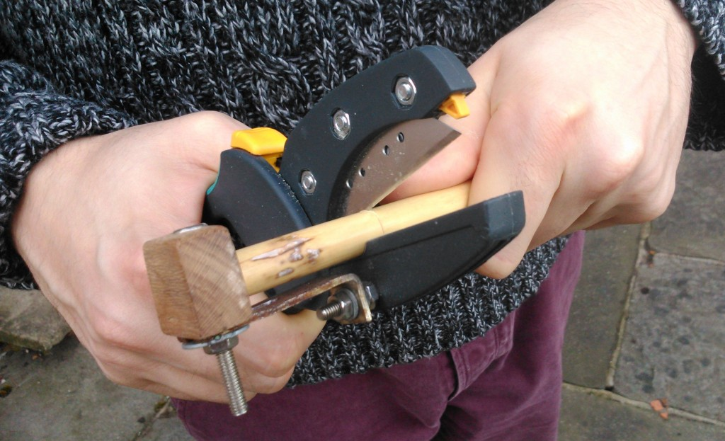 Wolfcraft 'megaCut S' precision cutter with an adjustable clamp added by Barnaby Brown after the example of Julian Goodacre.